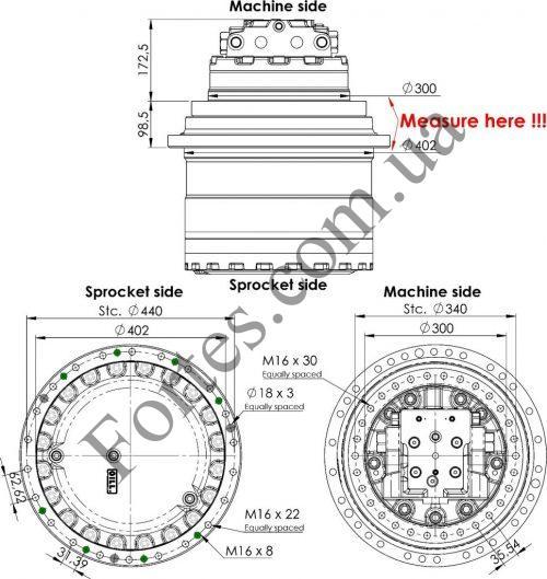Редуктор хода экскаватора Hyundai R210LC-7